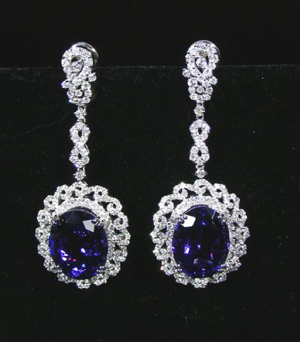 OUTSTANDING PAIR OF 18K WHITE GOLD, TANZANITE & DIAMOND