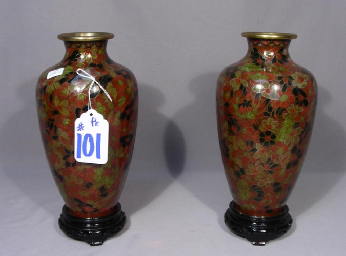 PAIR FINE CHINESE CLOISONNE URNS ON FITTED STANDS