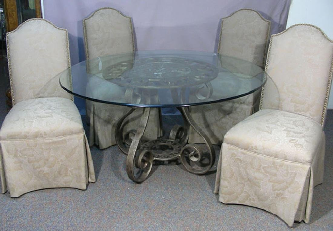 SCOTT SHUPTRINE METAL TABLE WITH GLASS TOP & FOUR