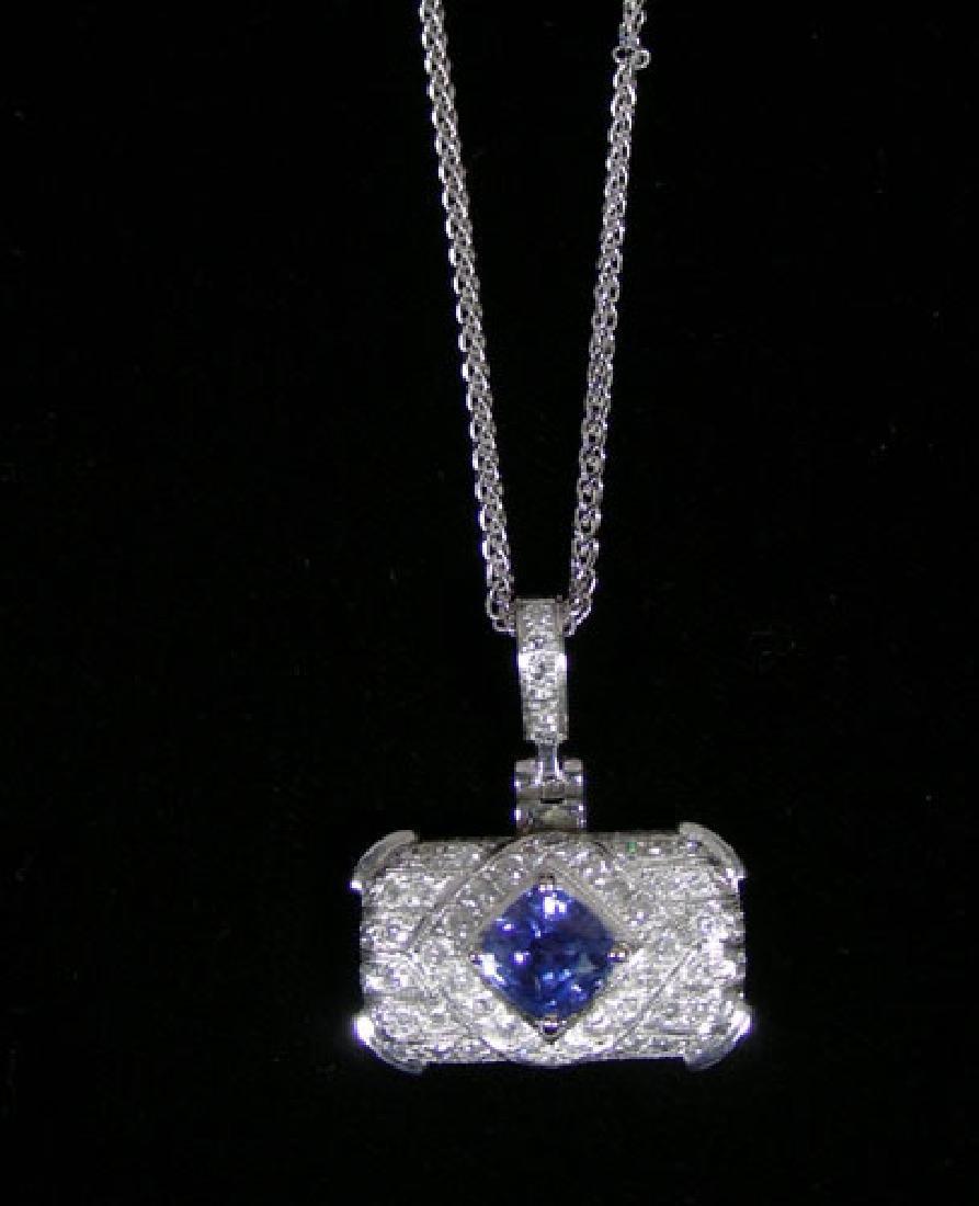 LADIES 18K WHITE GOLD, SAPPHIRE & DIAMOND NECKLACE
