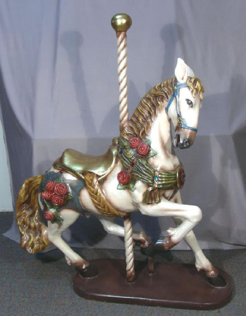 HAND PAINTED COMPOSITION CAROUSEL HORSE