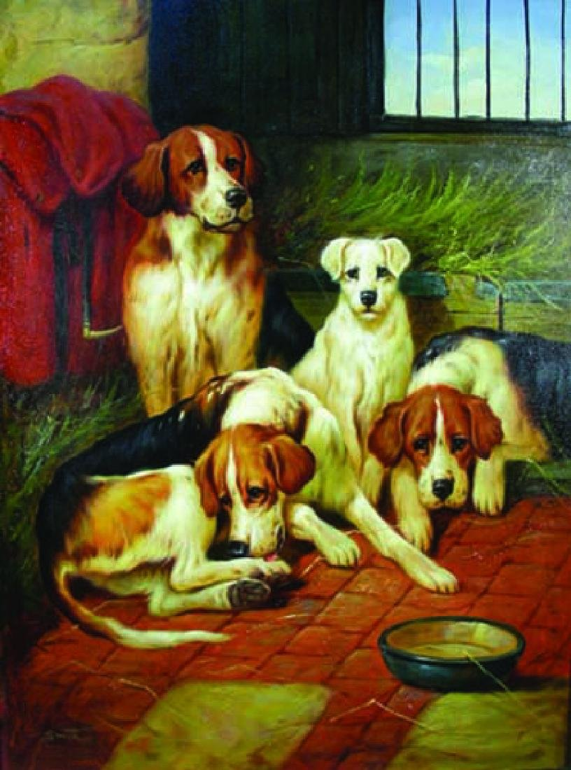 ORIGINAL OIL ON CANVAS OF FOUR DOGS