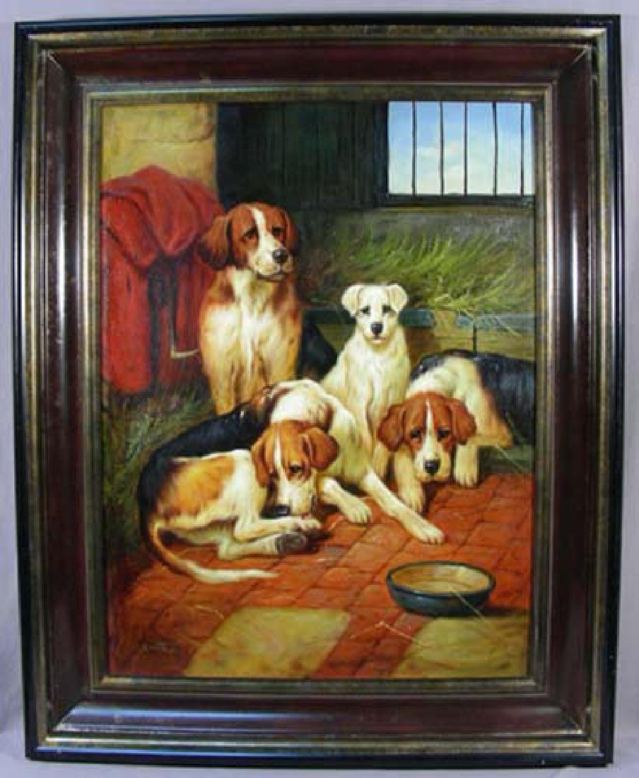 ORIGINAL OIL ON CANVAS OF FOUR DOGS - 2