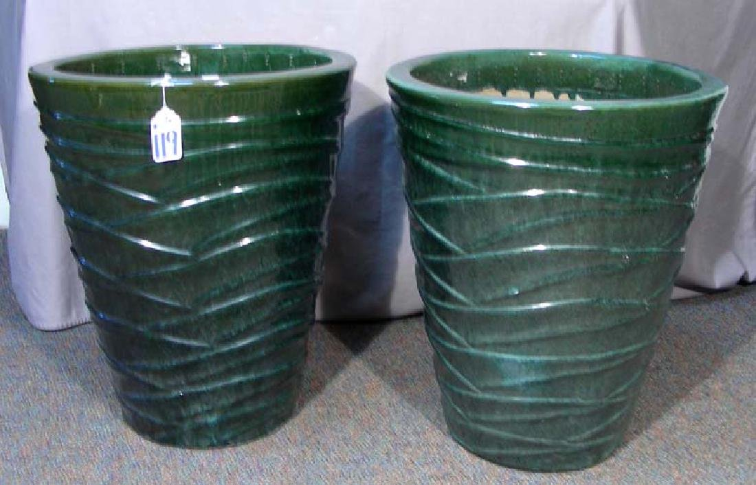 PAIR LARGE HEAVY GREEN GLAZED CERAMIC PLANTERS