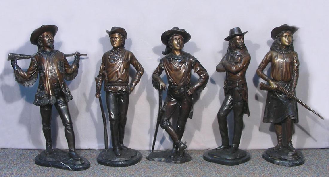 """GROUP OF FIVE BRONZE SCULPTURES """"LEGENDS OF THE WILD"""
