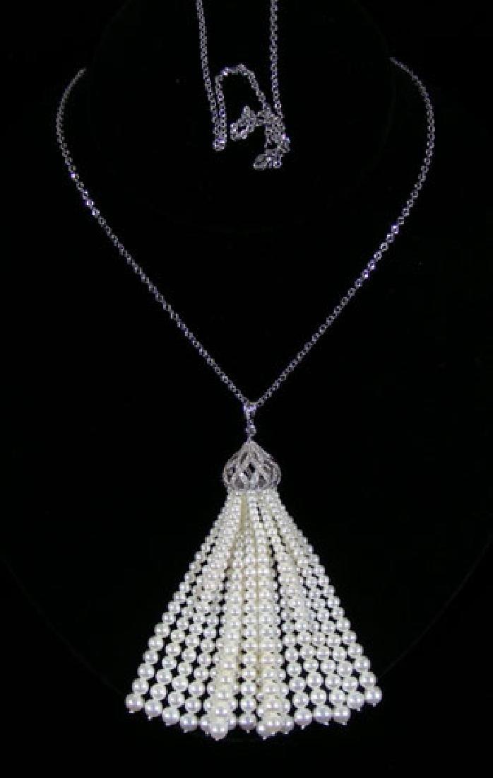 LADIES 18K WHITE GOLD, PEARL & DIAMOND LARIAT NECKLACE