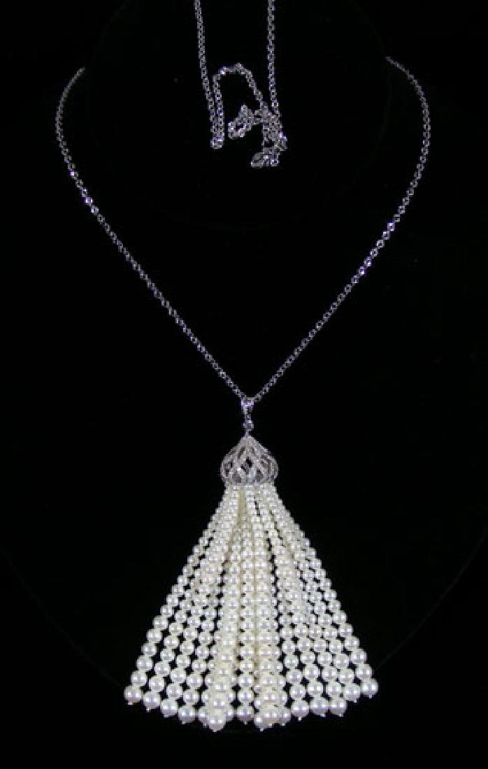 LADIES 18K WHITE GOLD, PEARL & DIAMOND LARIAT NECKLACE