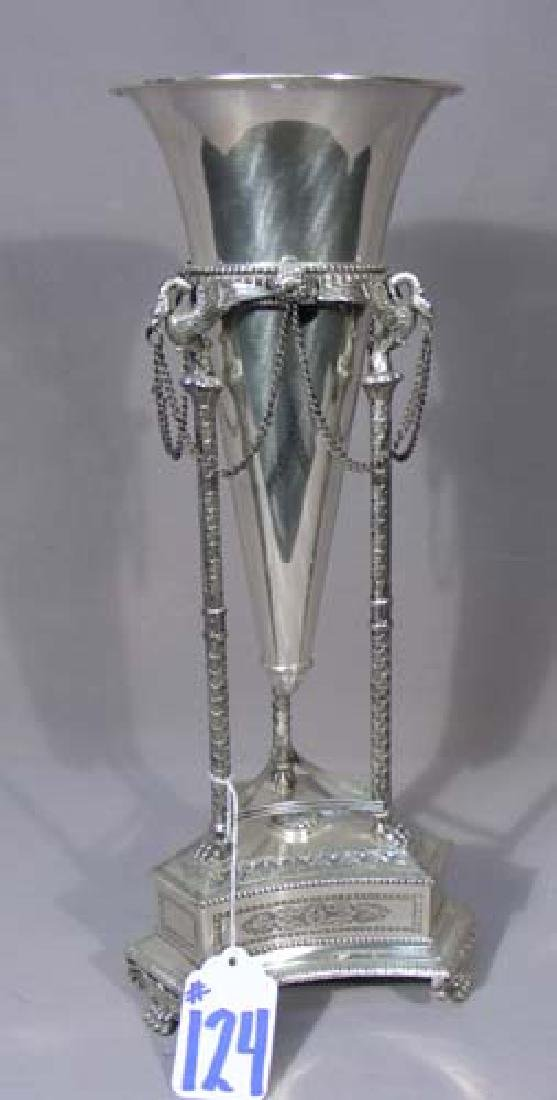 FINE HEAVY SILVER PLATED VASE IN ORNATE STAND