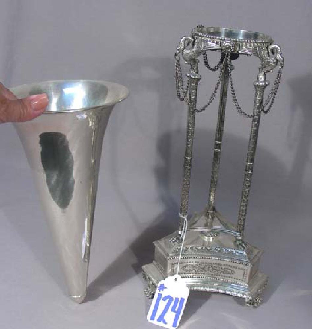 FINE HEAVY SILVER PLATED VASE IN ORNATE STAND - 3