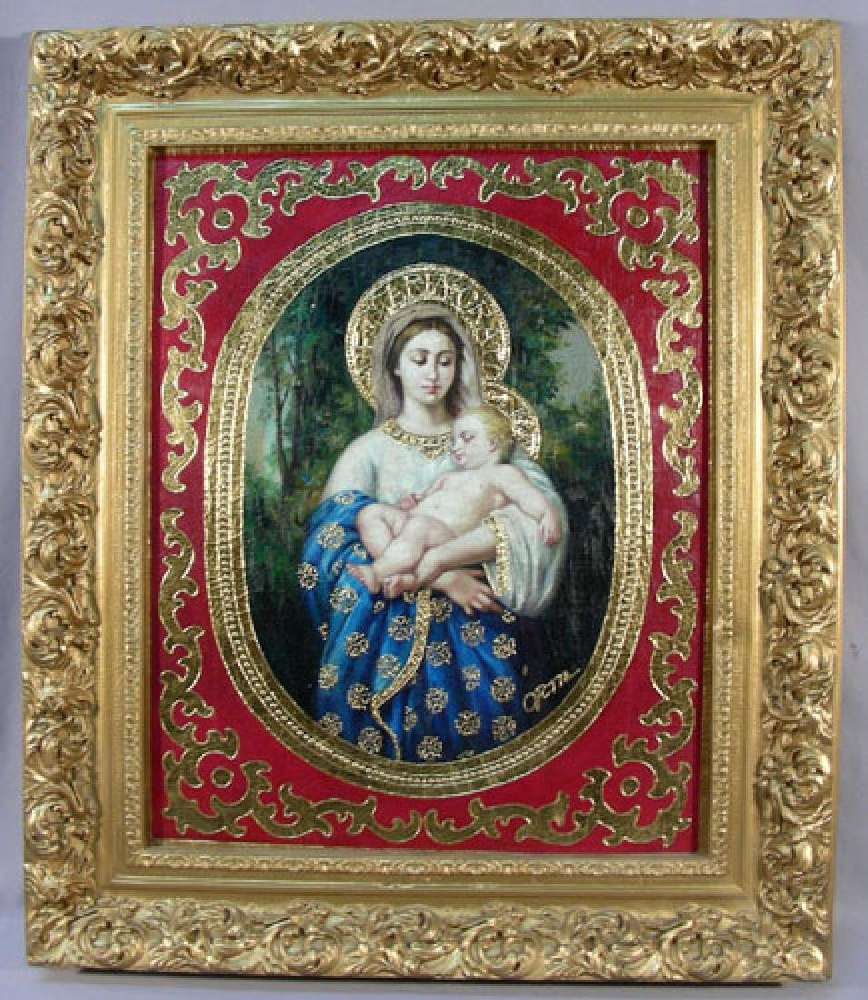 "ORIGINAL OIL ON CANVAS ""MADONNA & CHILD"" BY ORTIZ"