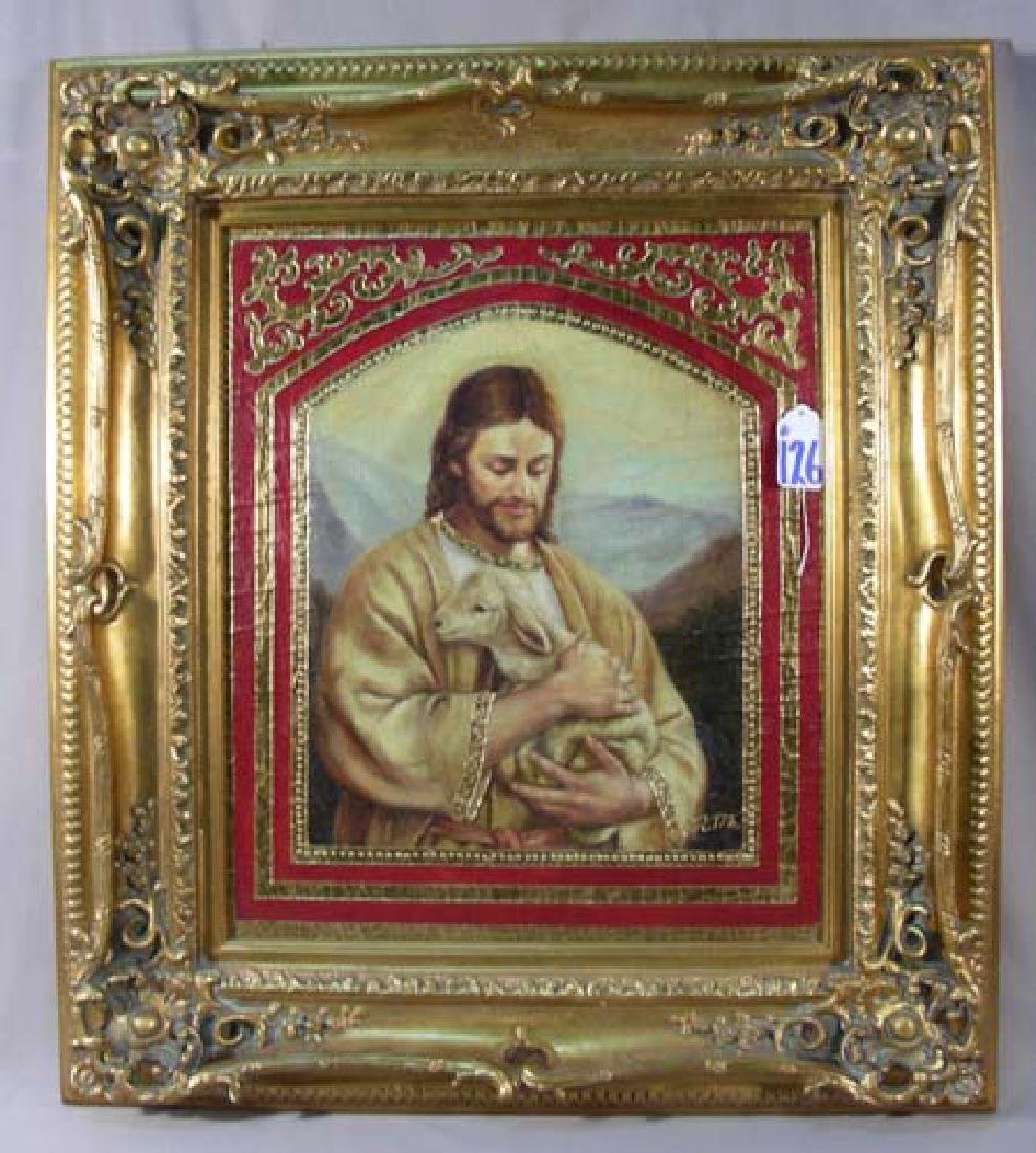 "ORIGINAL OIL ON CANVAS ""JESUS HOLDING SHEEP"" BY ORTIZ"