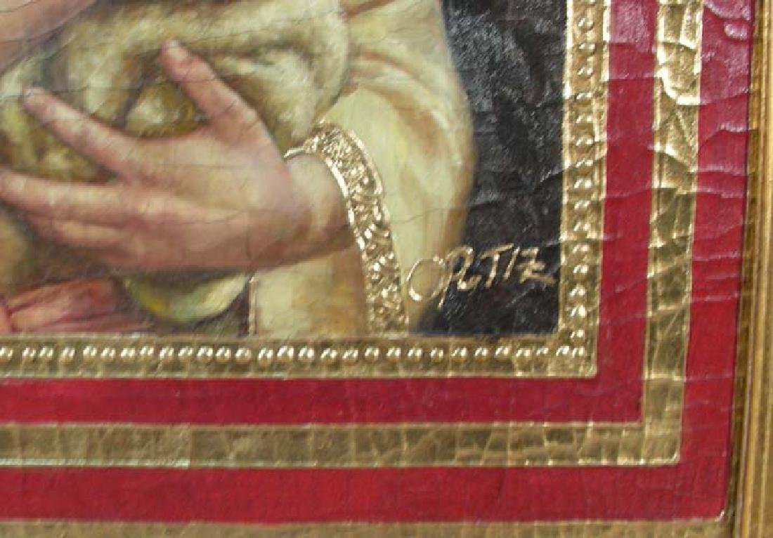 """ORIGINAL OIL ON CANVAS """"JESUS HOLDING SHEEP"""" BY ORTIZ - 2"""