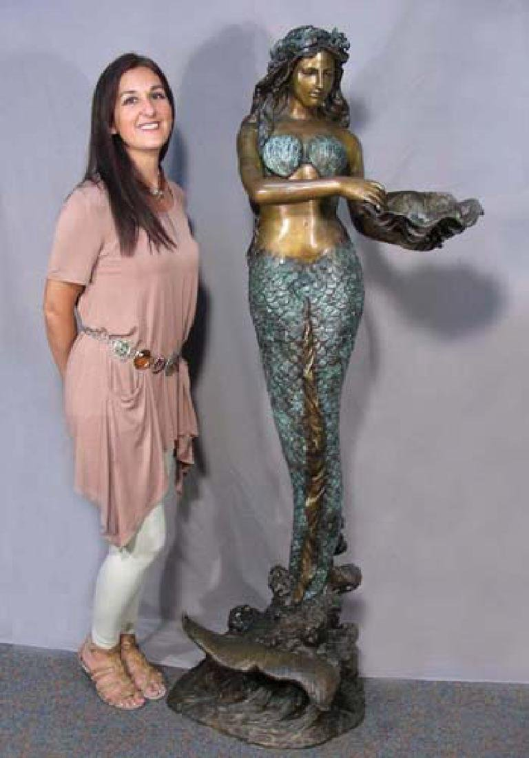 LIFE SIZE BRONZE SCULPTURE/FOUNTAIN OF MERMAID HOLDING
