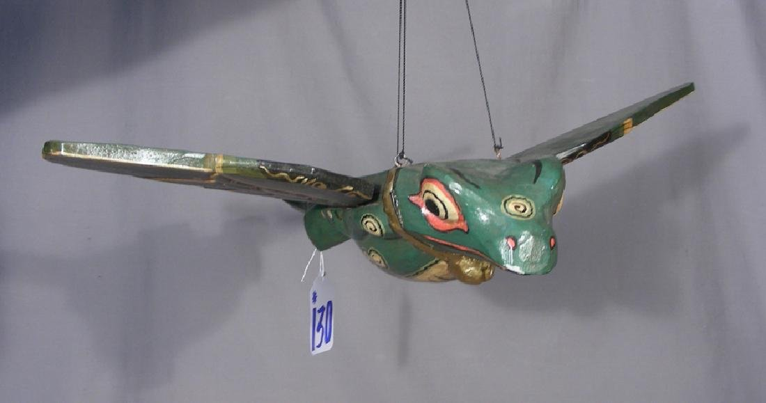 HUMOROUS HAND CARVED AND PAINTED FLYING FROG