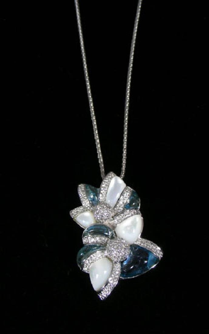 LADIES 14K WHITE GOLD, BLUE TOPAZ, MOTHER-OF-PEARL &