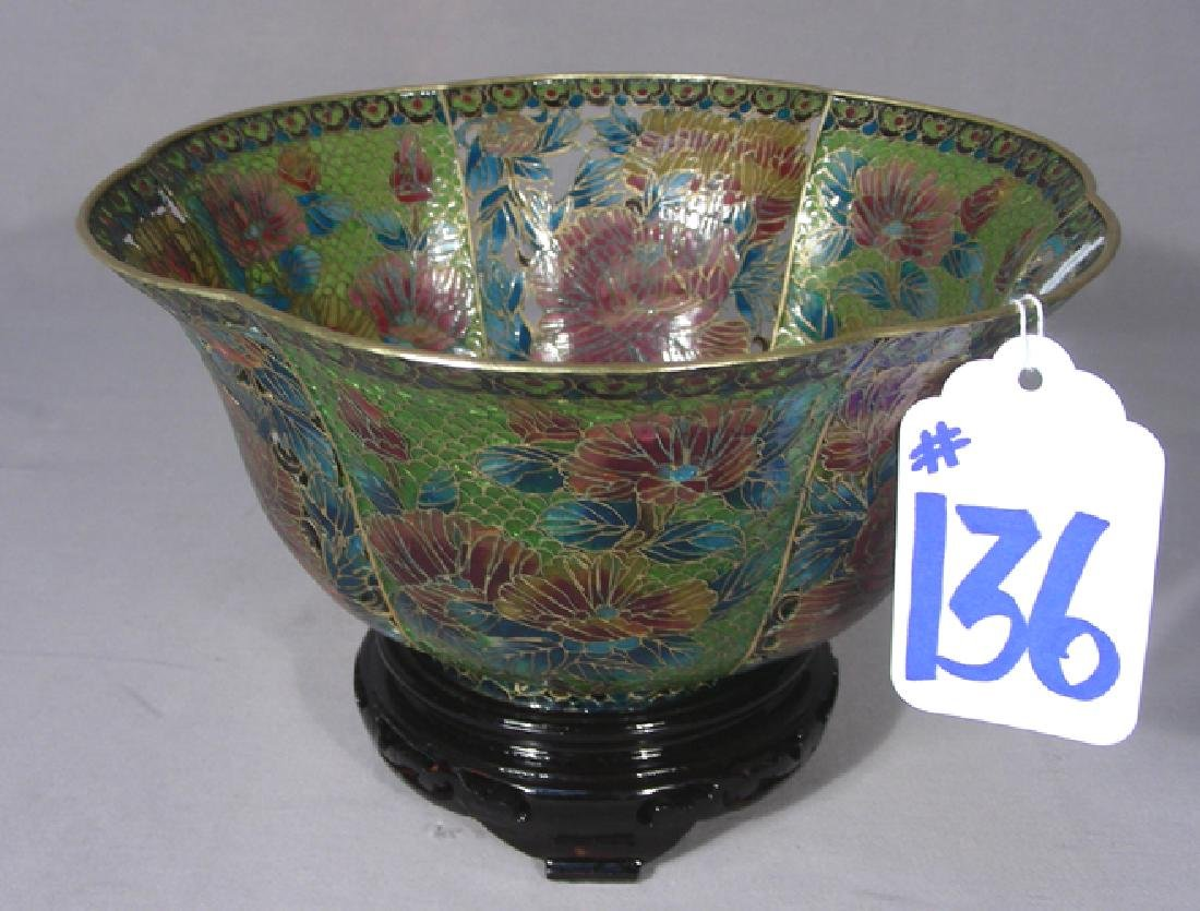 LARGE CHINESE PLIQUE A JOUR BOWL ON STAND