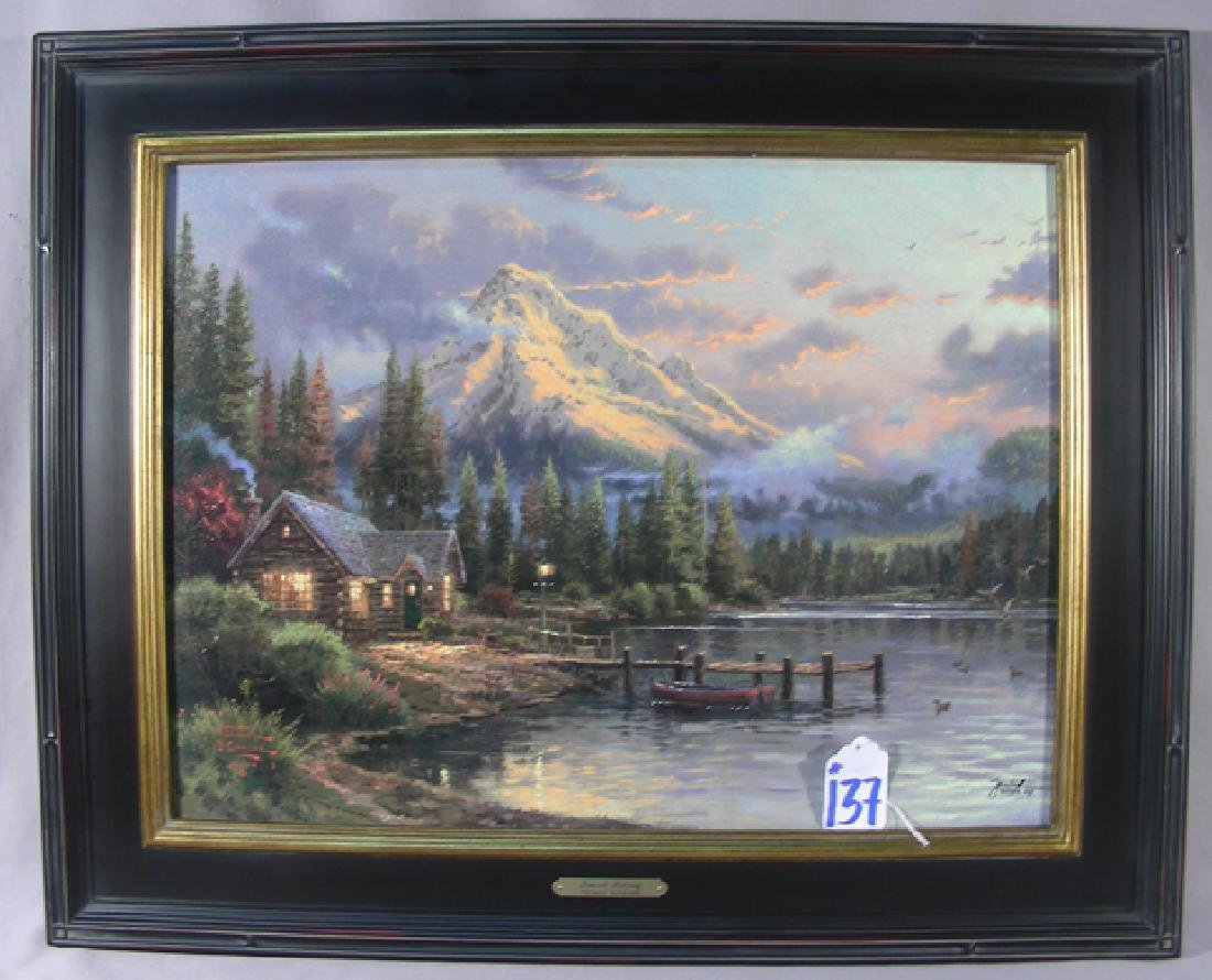 "THOMAS KINKADE ENHANCED PRINT ""LAKESIDE HIDEAWAY)"