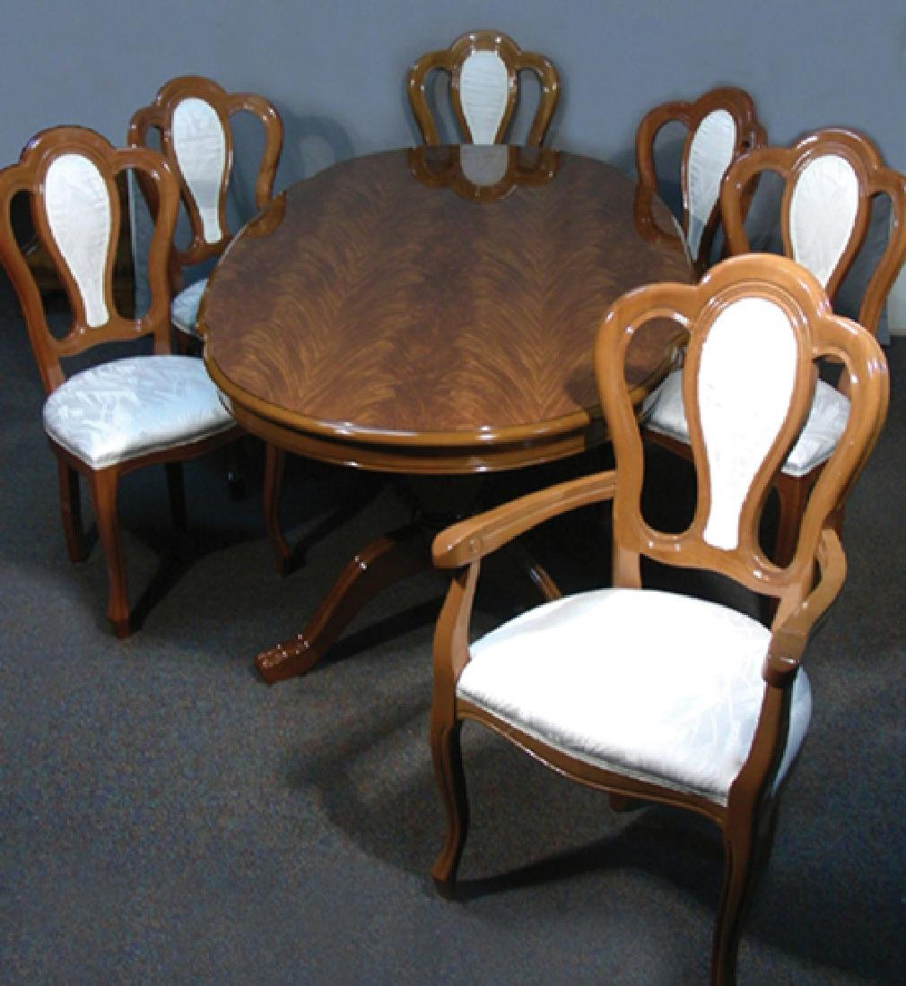 ITALIAN DINING ROOM TABLE WITH SIX MATCHING CHAIRS