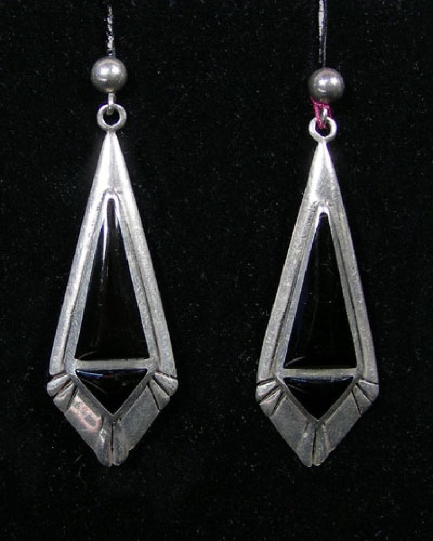 PAIR ART DECO STERLING SILVER AND ONYX EARRINGS