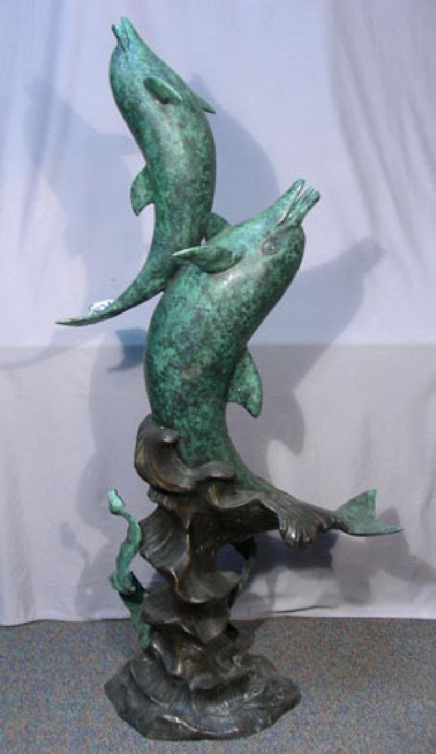 LARGE BRONZE DOUBLE DOLPHIN SCULPTRE/ FOUNTAIN