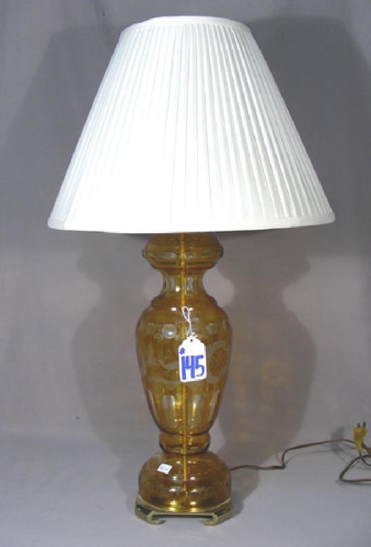 VINTAGE AMBER CRYSTAL TABLE LAMP