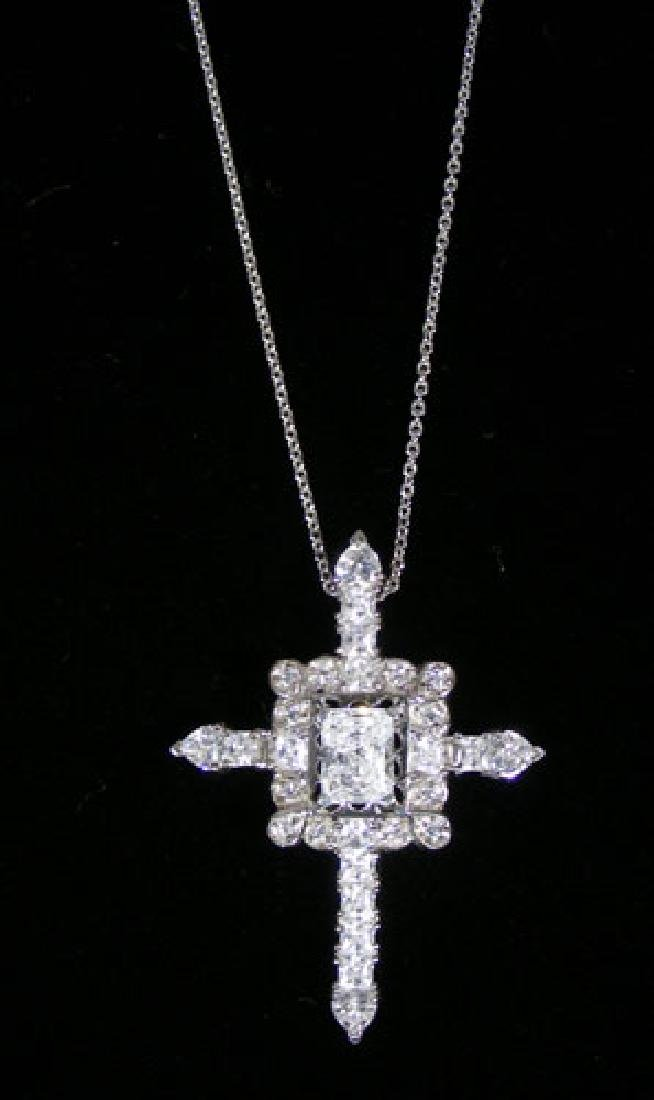 VINTAGE STERLING SILVER AND CZ CROSS NECKLACE