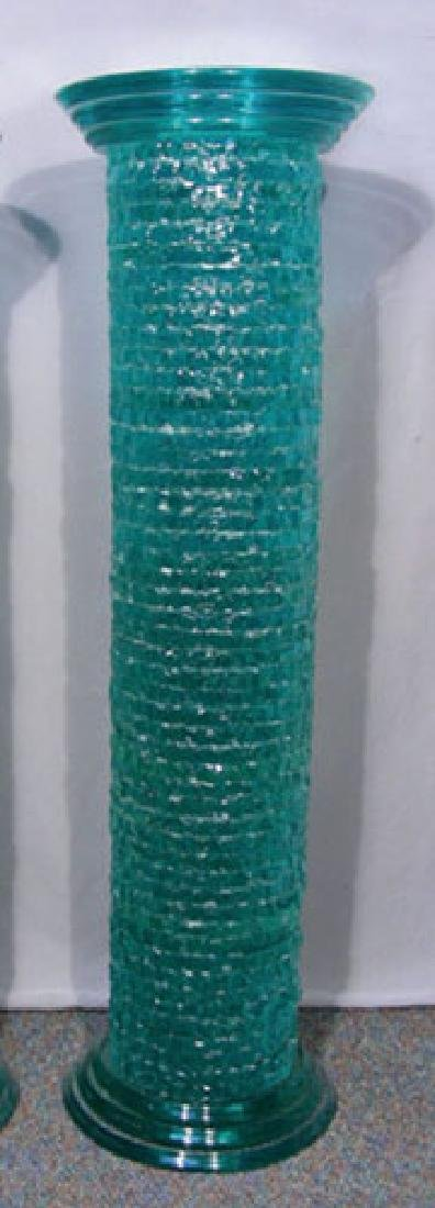 VERY FINE HEAVY SOLID GLASS COLUMN PEDESTAL