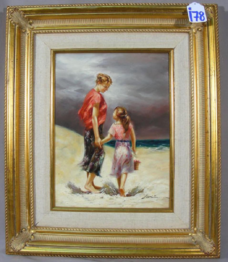 ORIGINAL OIL ON CANVAS:  MOTHER AND DAUGHTER ON BEACK