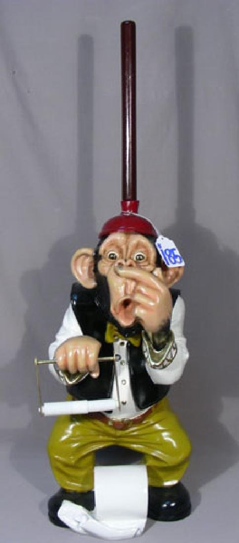 HUMOROUS HAND PAINTED COMPOSITION TOILET MONKEY