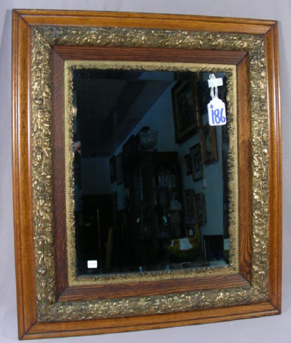 HEAVY ANTIQUE BEVELED GLASS MIRROR WITH WOODEN FRAME
