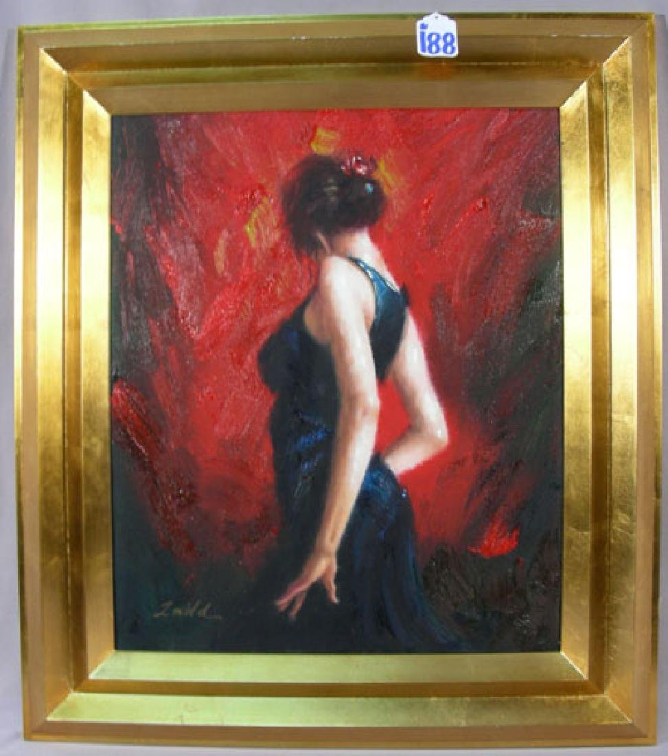 ORIGINAL OIL ON CANVAS OF DANCING WOMAN