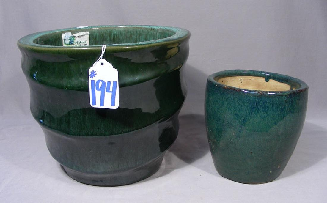 TWO GREEN GLAZED CERAMIC PLANTERS