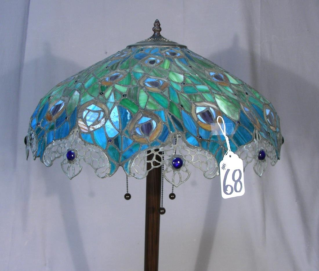 METAL AND LEADED GLASS FLOOR LAMP