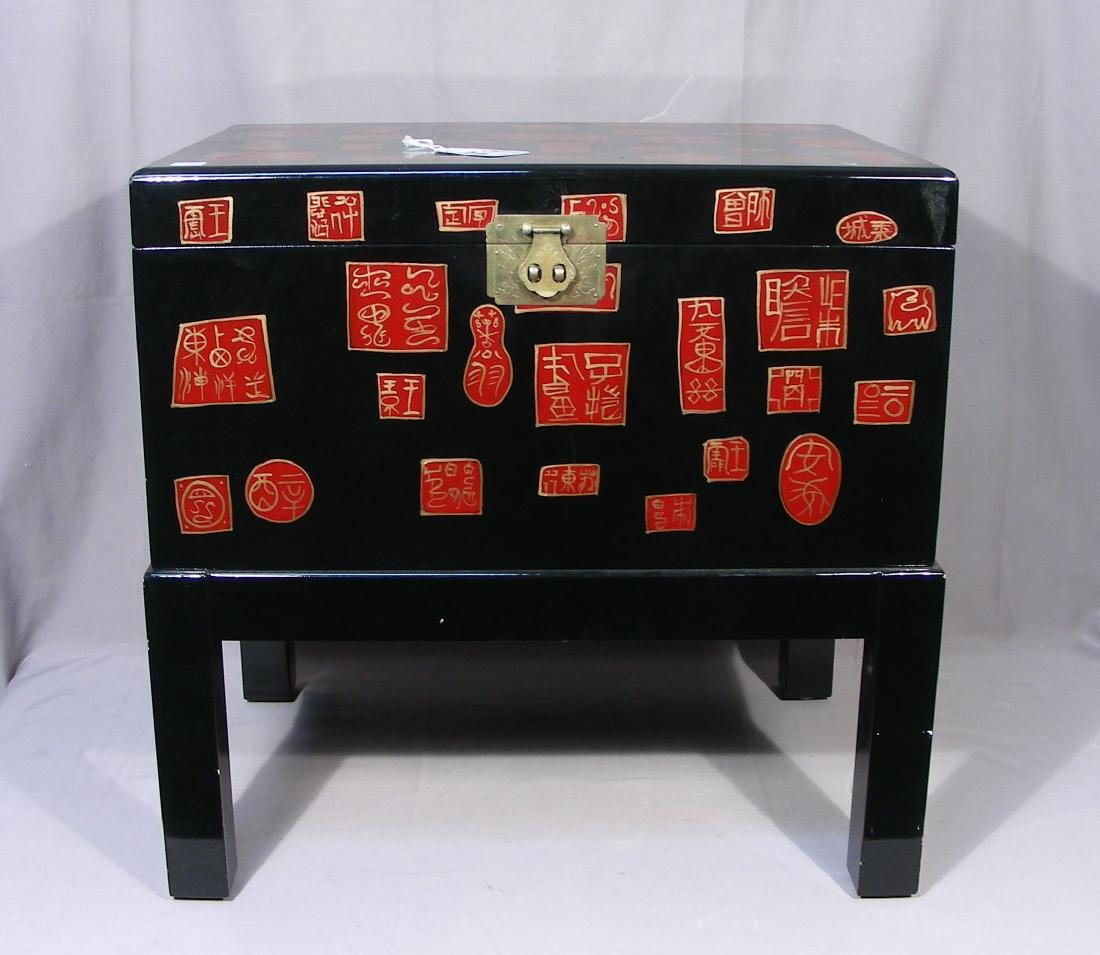 CHINESE LACQUER TRUNK ON STAND