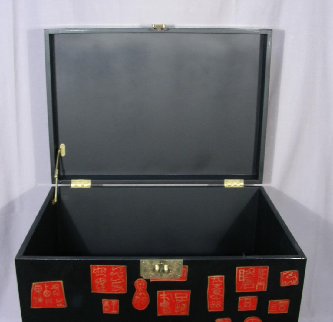 CHINESE LACQUER TRUNK ON STAND - 2