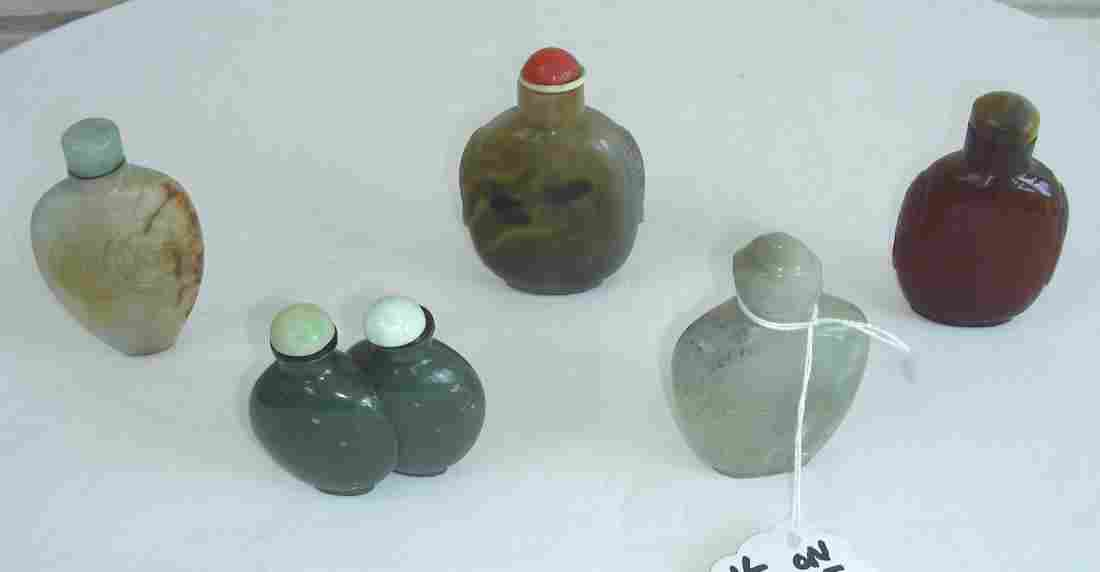 GROUP OF FINVE VINTAGE CHINESE SNUFF BOTTLES