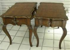 PAIR VINTAGE HAND CARVED SIDE TABLES BY BAKER