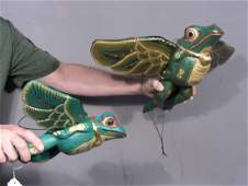 TWO HAND CARVED  PAINTED WOODEN FLYING FROGS