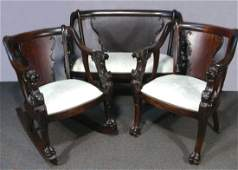 FINE ANTIQUE CARVED WOOD THREE PIECE SETTEE SET