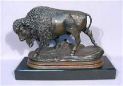 VINTAGE BRONZE SCULPTURE OF STANDING BUFFALO BY