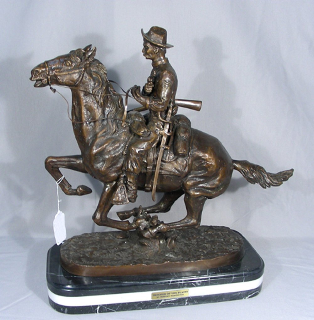 "FINE BRONZE SCULPTURE ""TROOPER OF THE PLAINS"""