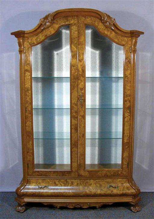 Italian Burlwood Curio Cabinet