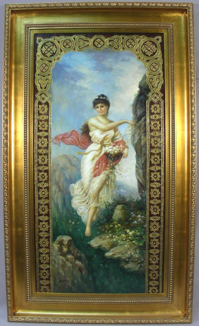 LARGE ORIGINAL OIL ON CANVAS OF WOMAN WITH FLOWERS
