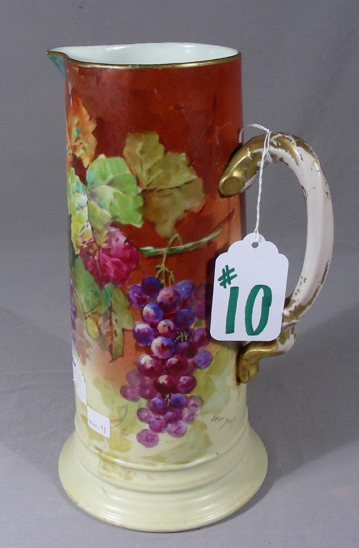 ANTIQUE HAND PAINTED JEAN POUAT HAND PAINTED PITCHER