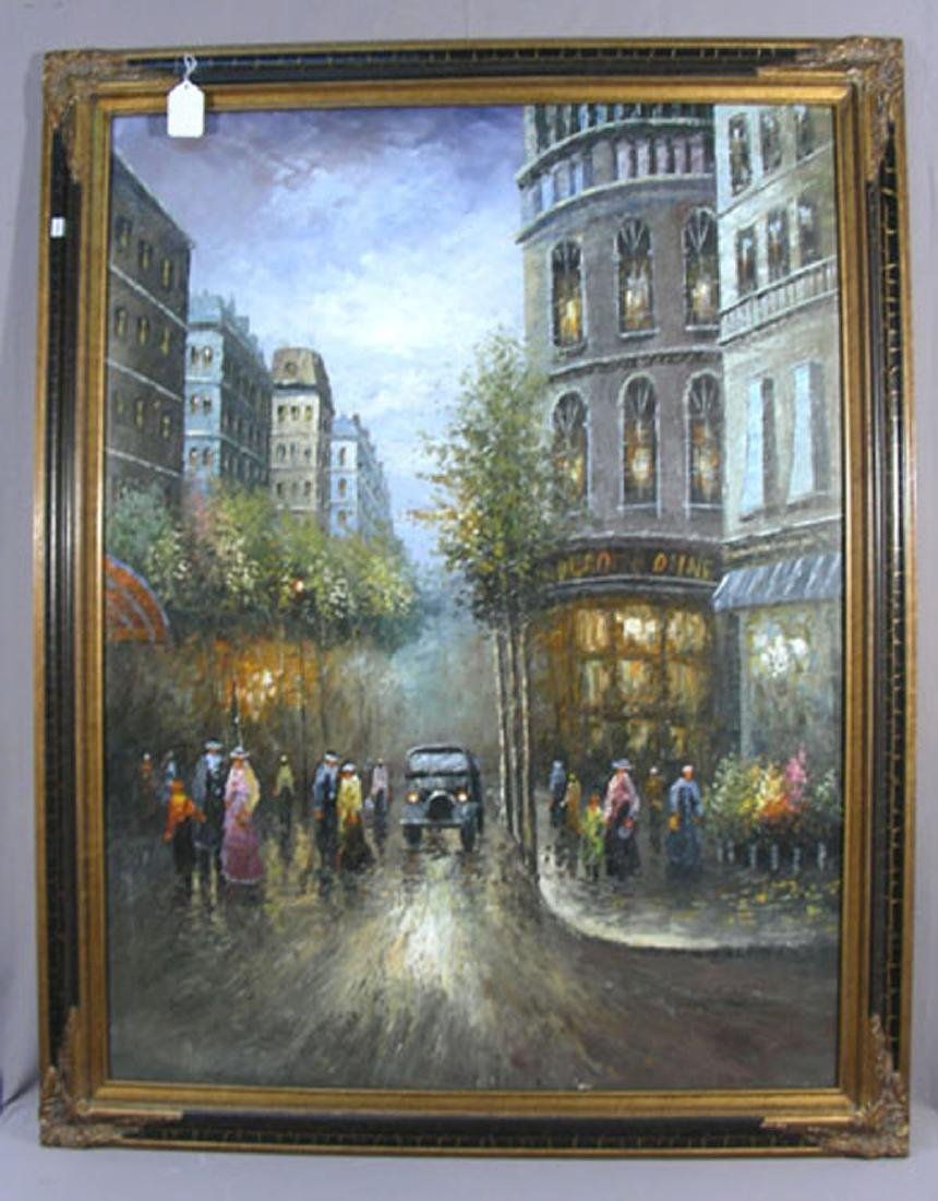 ORIGINAL OIL ON CANVAS:  PARISIAN STREET SCENE