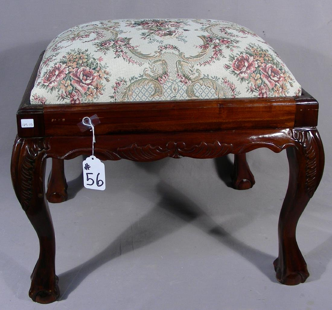 CHIPPENDALE STYLE HAND CARVED & UPHOLSTERED BENCH/STOOL