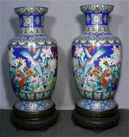 PAIR FABULOUS MONUMENTAL CHINESE CLOISONNE PALACE URNS