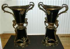 SPECTACULAR PAIR OF FRENCH DORE BRONZE & PORCELAIN