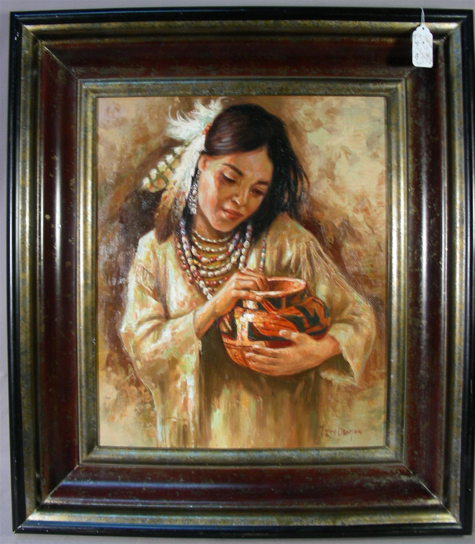 "FINE ORIGINAL OIL ON CANVAS ""INDIAN WOMAN HOLDING POT"""