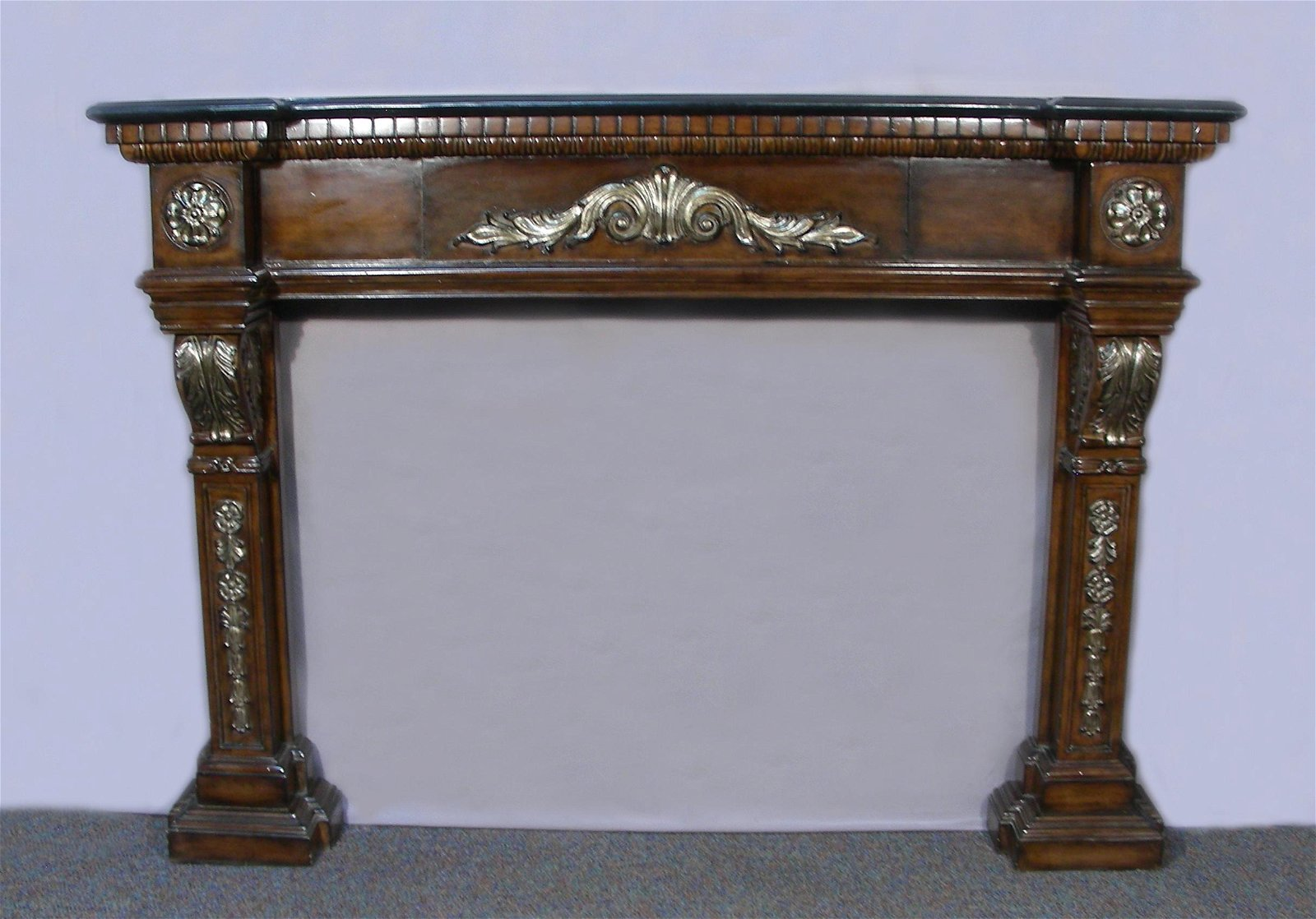 FABULOUS HAND CARVED MAHOGANY FIREPLACE MANTLE